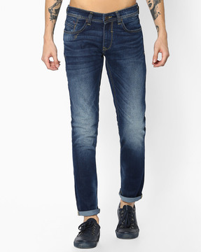 Slim Fit Mid-Washed Jeans