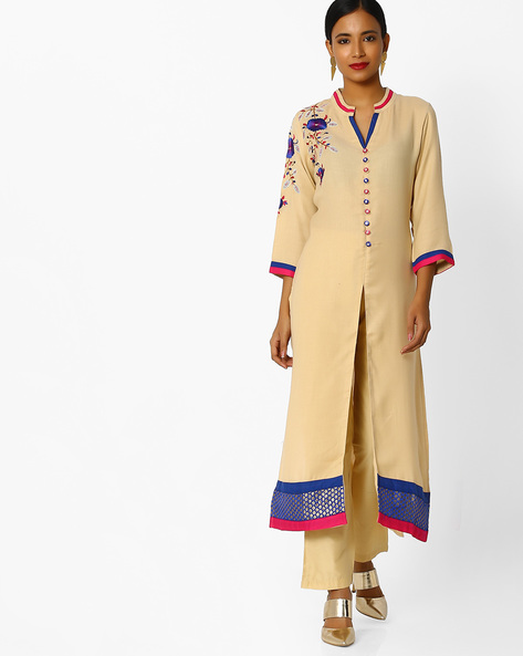 Embroidered Kurta With Front Slit By Indian Ink ( Beige )