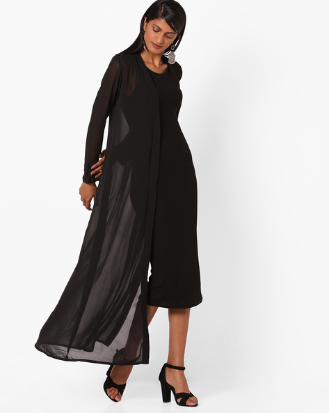 Open-Front Long Shrug By And ( Black )