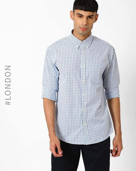 Cotton Checked Shirt With Button-Down Collar By Marks & Spencer ( Blue )