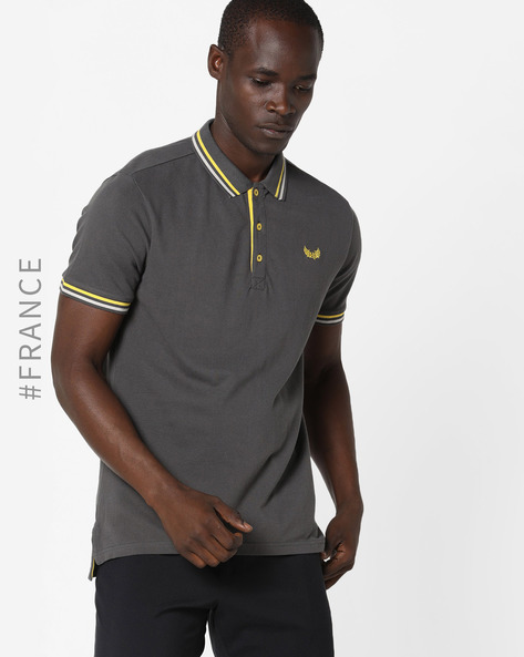 Polo T-shirt With Stripe-Tipped Hem By Kaporal ( Asphalt )