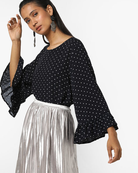 Polka-Dot Top With Bell Sleeves By Only ( Indigo )