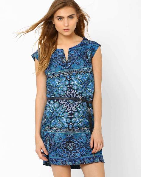 Printed Dress With Belt By Oxolloxo ( Blue )