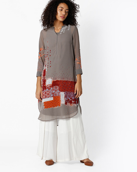 Printed Straight Kurta With Mandarin Collar By Biba ( Grey )