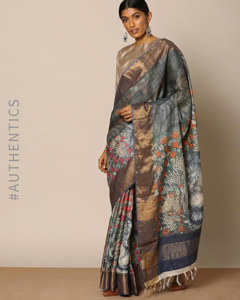 Pure Silk Printed Designer Saree By Rudrakaashe-MSU ( Grey )
