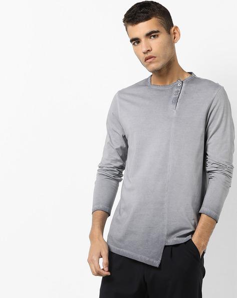 Crew-Neck T-Shirt With Asymmetric Hemline By AJIO ( Grey )