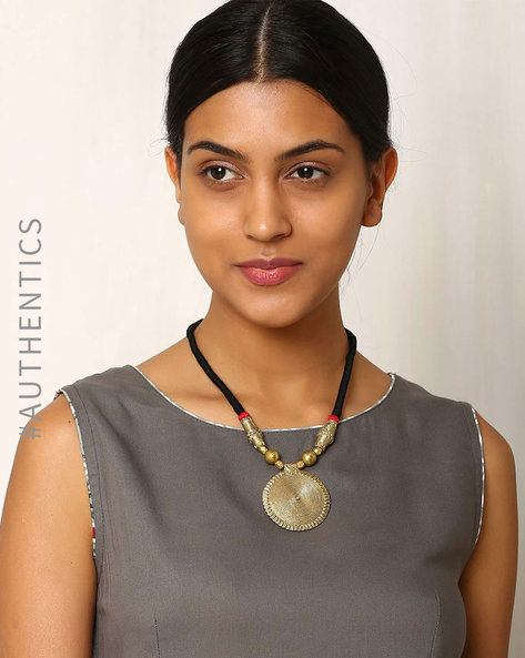 Handcrafted Dhokra Brass Necklace By Indie Picks ( Black ) - 460016906001