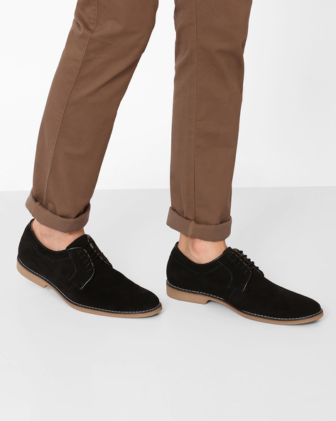 Faux-Leather Casual Shoes By AJIO ( Black )