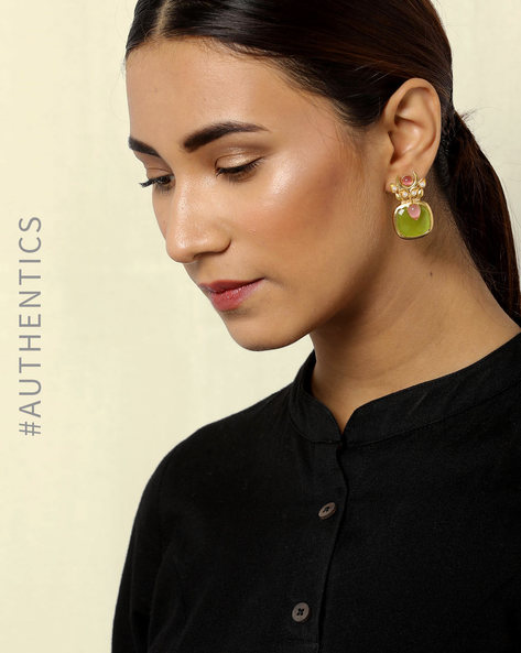 Gold Plated Brass Drop-Earrings By Courtyard ( Green ) - 460084648001