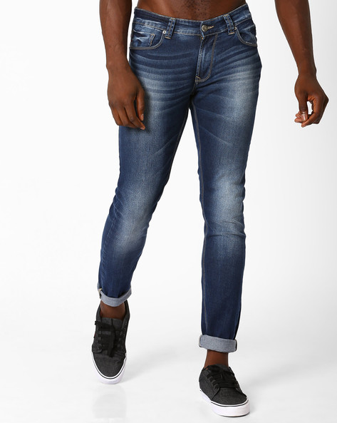 Lightly Washed Skinny Fit Jeans By SPYKAR ( Dkblue )