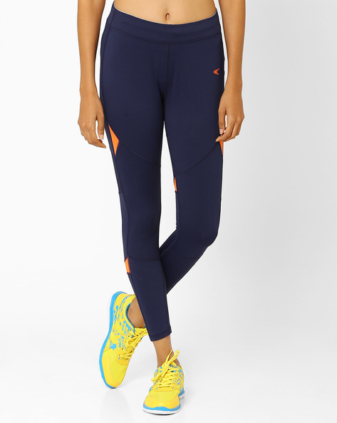 Panelled Leggings With Waistband Zip Pocket By PERFORMAX ( Navy )