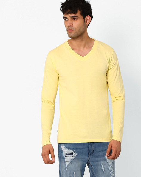 Slim Fit Full-Sleeve T-shirt By Blue Saint ( Yellow )