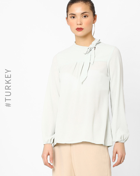 Pussy-Bow Long-Sleeve Top By Closet London ( Lightgreen )