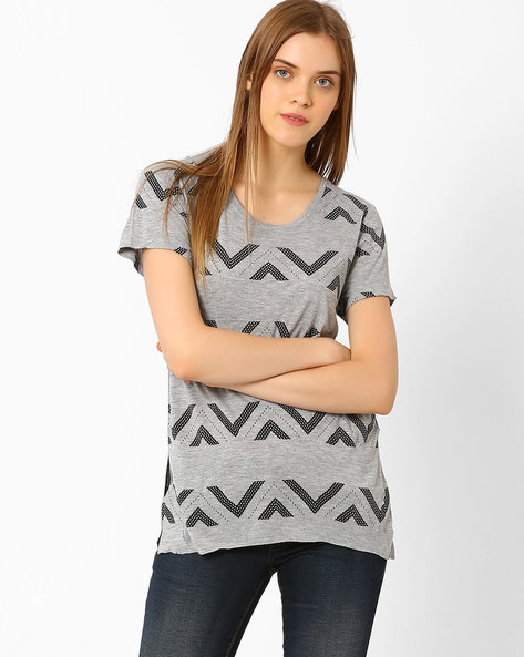 Knitted T-shirt With High-Low Hem By Lee ( Gray )