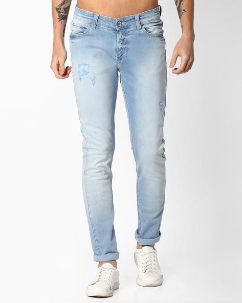 Heavily Washed Slim Jeans By SPYKAR ( Lightblue )