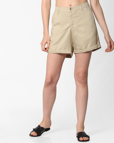 Flat-Front Shorts With Upturned Hems By PE WW Casual ( Beige )