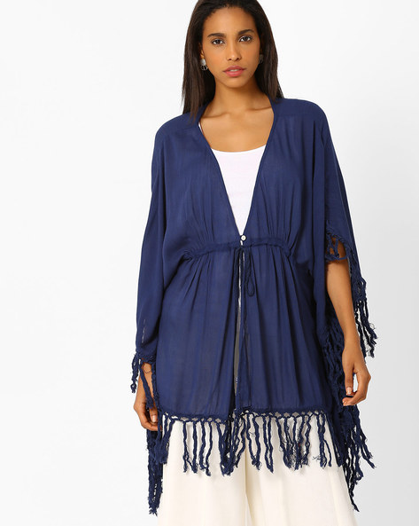 Shrug With Fringe Detail By Global Desi ( Blue )