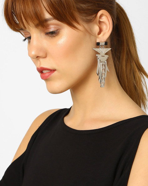 Drop-Earrings With Cutouts By Pipa Bella ( Silver )