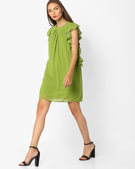 Shift Dress With Bobble Trim By AJIO ( Olive )