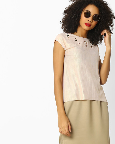 Ribbed Top With Metal Eyelets By FIG ( Ltpeach )