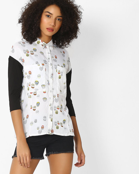 Owl Print Shirt With Panelled Sleeves By RIO ( White )