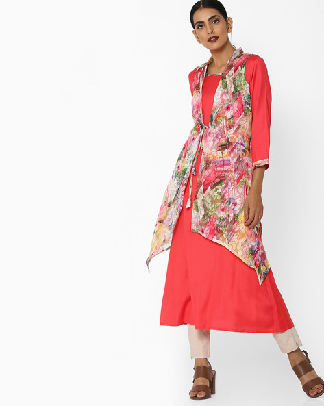 Kurta With Floral Printed Shrug By AYAANY ( Coral )