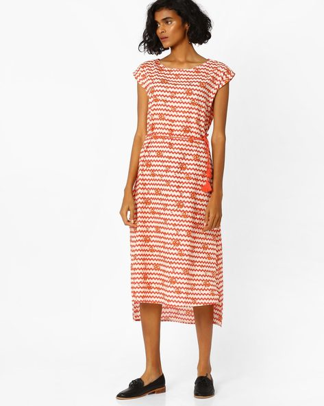 High-Low Midi Dress By AJIO ( Coral )