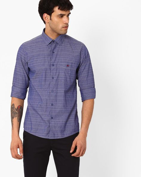 Slim Fit Shirt With Patch Pocket By CRIMSOUNE CLUB ( Assorted )