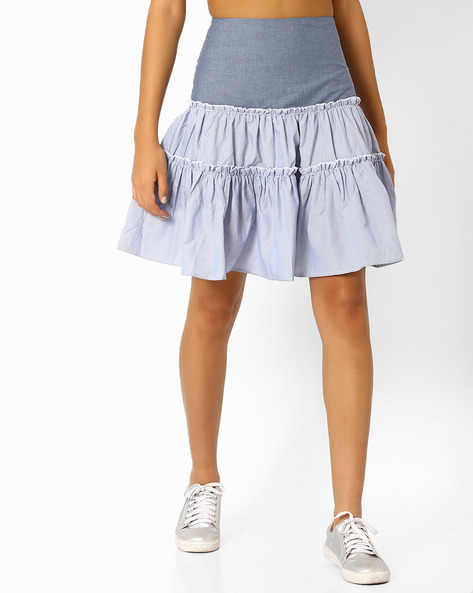Pinstriped Tiered Skirt With Ruffles By RI-DRESS ( Sblue )