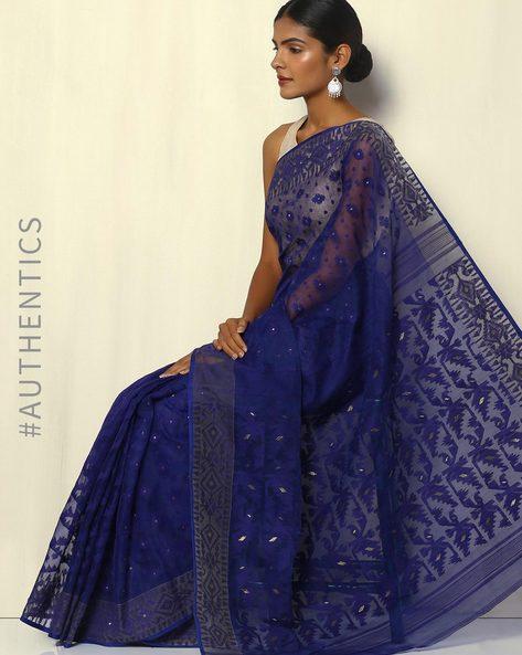 Bengal Handloom Tant Tangail Jamdani Design Saree By Indie Picks ( Blue )