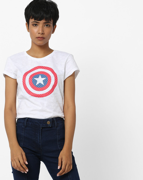 Captain America T-shirt With Slub Effect By Free Authority ( White )