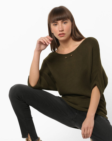 Knitted Pullover With Drop Sleeves By CODE By Lifestyle ( Olive )