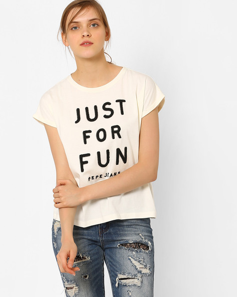 Printed Cotton T-shirt By Pepe Jeans ( Ecru )