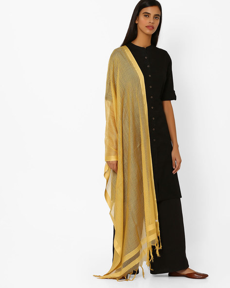 Tasseled Dupatta With Laser-Cut Detail By AURELIA ( Gold )
