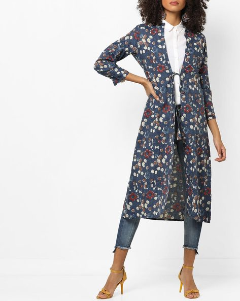 Printed Longline Jacket With Tie-Up By AJIO ( Indigo )