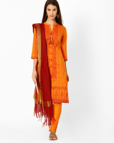 Printed Churidar Kurta With Dupatta By AVAASA SET ( Mustard )