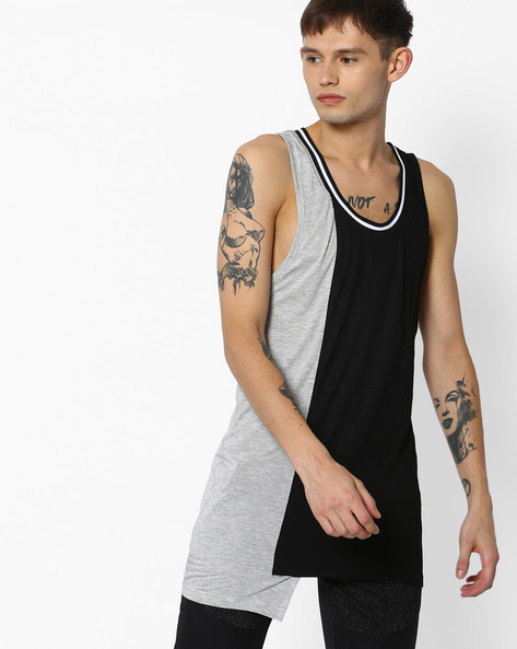Asymmetrical Longline Fashion Vest By ADAMO LONDON ( Multi )