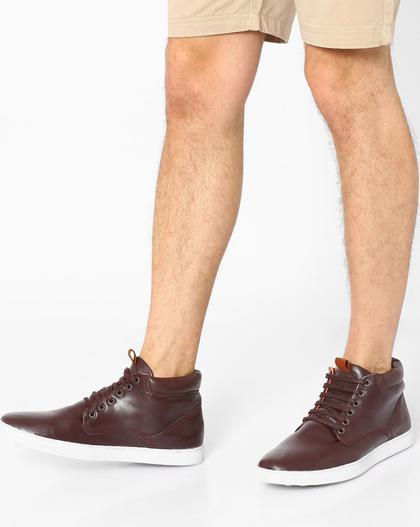 Mid-Top Panelled Sneakers By AJIO ( Brown )