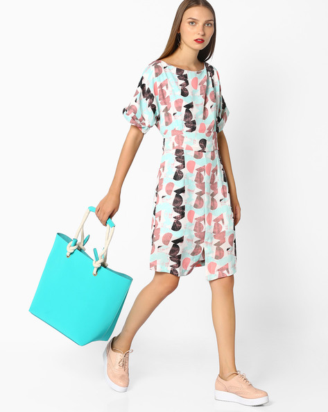 Printed Shift Dress With Waist Tie-Up By AJIO ( White )