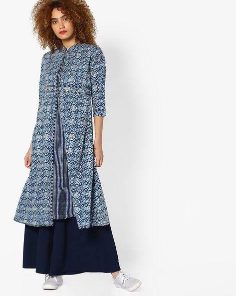 Printed Straight Kurta With Overlay Detailing By AJIO ( Blue )