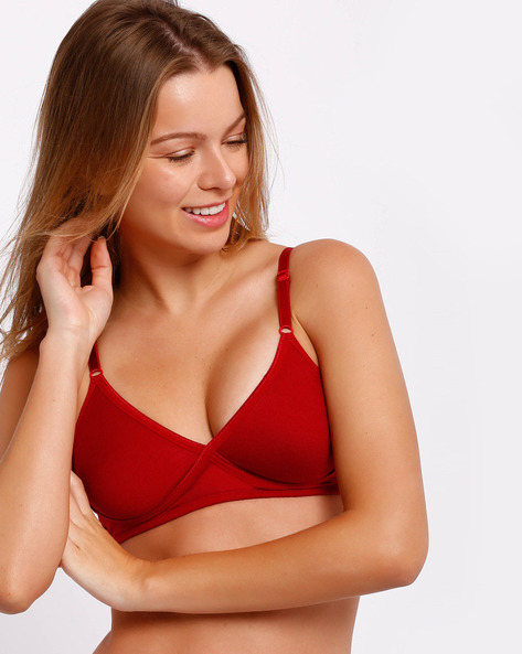 Full-Coverage Seamless Cross-Fit Bra By Lovable ( Maroon )