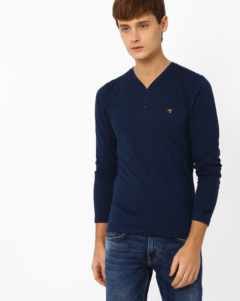 Slim Fit Henley T-shirt By The Indian Garage Co ( Navy )