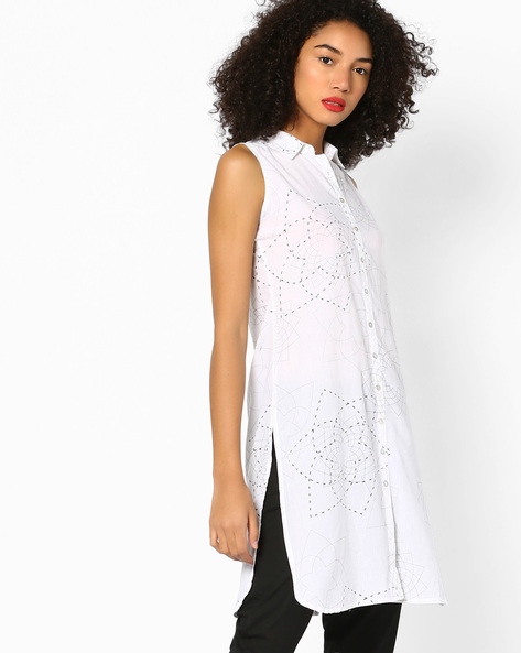 Floral Print Kurta With Shirt Collar By AJIO ( White )