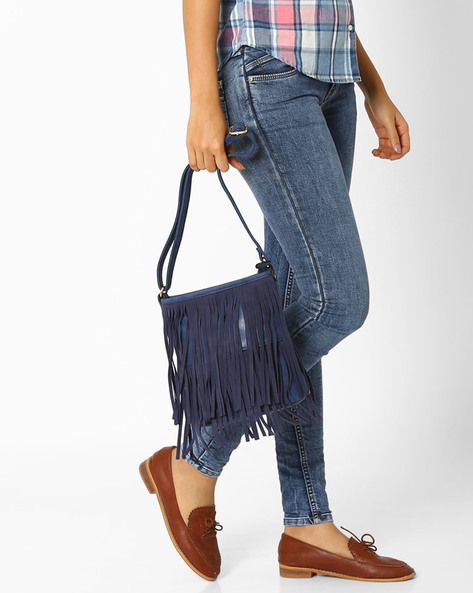 Sling Bag With Fringes By AJIO ( Blue )