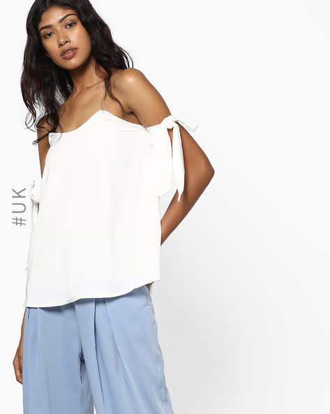 Off-Shoulder Top With Tie-up Sleeves By NEON ROSE ( White )