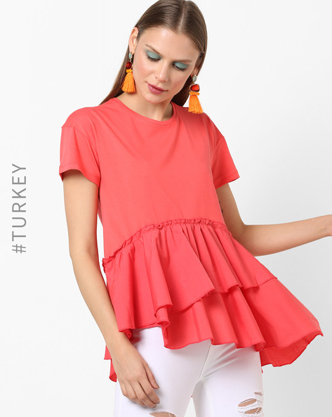 Ruffle Layered High-Low Crew-Neck Top By TRENDYOL ( Red )