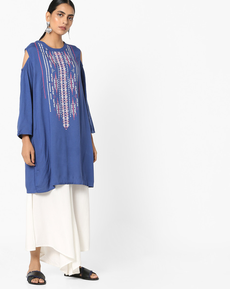 Printed Tunic With Cold-Shoulder Sleeves By Project Eve IW Fusion ( Purple )