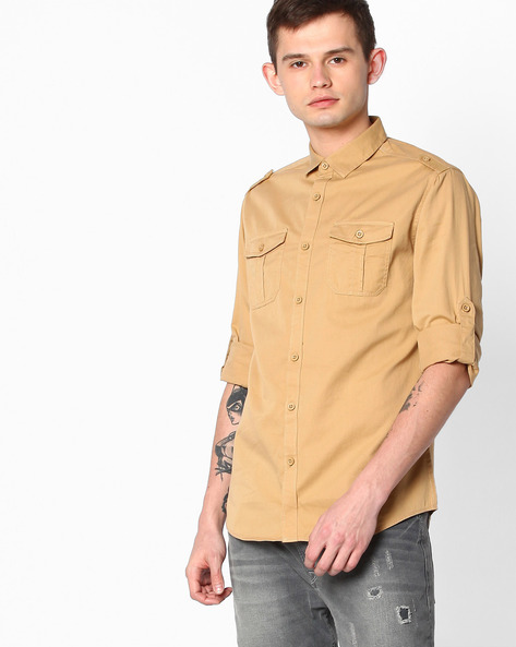 Slim Fit Shirt With Shoulder Tabs By The Indian Garage Co ( Beige )