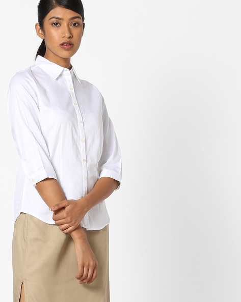 Cotton Shirt With Button Placket By FIG ( White )