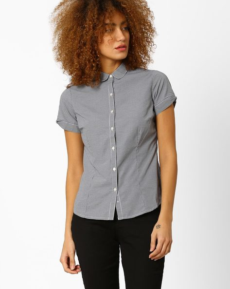 Pin-Checked Shirt With Peter Pan Collar By Annabelle By Pantaloons ( Black )